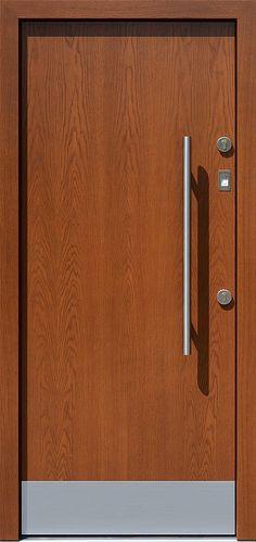 Dębowe wejściowe drzwi zewnętrzne 500C ciemny dąb + kopacz
