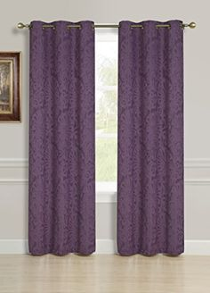 SL Home Fashions Scarlett Blackout Jacquard Window Panel Pairs With  Grommets Plum ** Read More
