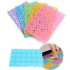 Colorful Splicing Anti Slip Mat Bathroom Massage Carpet Strong Suction