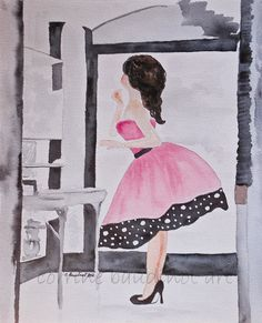 Watercolor, vintage glamour girl