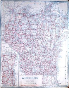 Antique Wisconsin Map C1920 Auto Trails Highway Map