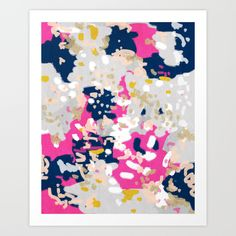 Michel by Charlotte Winter.   Abstract Art. Pink, navy, gold, blue, grey, white.