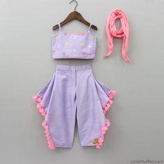 Purple Top And Dhoti Pants Baby Girl Frocks, Baby Girl Party Dresses, Frocks For Girls, Dresses Kids Girl, Kids Outfits, Kids Dress Wear, Kids Gown, Kids Wear, Kids Ethnic Wear