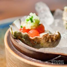Watermelon pearls with oysters & cucumber at O Ya in Boston by @tinyurbankitchn, via Flickr