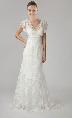 Lovely V-neck Short-Sleeve Lace Wedding Dress
