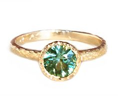 Green Sapphire Seashore Solitaire by Anouk
