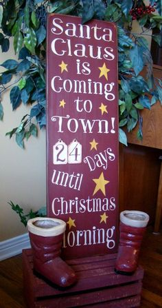 Countdown To Santa Christmas Wooden Primitive Sign by kshopa, $99.00