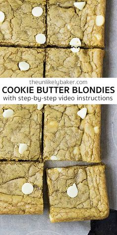 Prepare to get addicted to these soft, chewy, delicious cookie butter blondies. Packed with the cookie butter taste you love. They're so easy to make too! Follow along with step-by-step video instructions.  #blondiesrecipe #bakesale #cookiebutter
