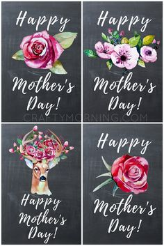 Chalkboard Mother's Day Printables w/ Watercolor Flowers - Crafty Morning Mothers Day Signs, Mothers Day Crafts For Kids, Mothers Day Quotes, Mothers Day Cards, Happy Mothers Day, Diy For Kids, Flowers For Mothers Day, Diy Mother's Day Crafts, Mother's Day Diy