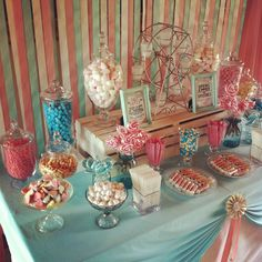 pretty blue and pink table for a baby shower