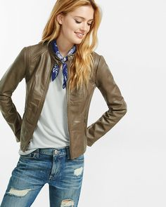 taupe double peplum (minus the) leather jacket