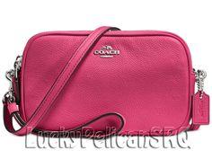 COACH 65547 Crossbody Clutch Messenger Bag Silver/Dahlia Pink NWT #Coach #MessengerCrossBody