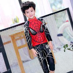 dc3da6db49 2017 New Boys Swimwear Two Pieces Long Sleeve Spider Man Pattern Kids  Children Swimsuit Clothing+Pants Bathing Suit Beach Wear