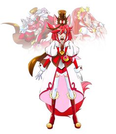 Fusion Request: Agukira (Cure Ace Chocolat) by on DeviantArt The Cure, Blank Background, Sailor Pluto, Girls With Red Hair, Anime Best Friends, Glitter Force, Sailor Scouts, Pretty Cure, Art