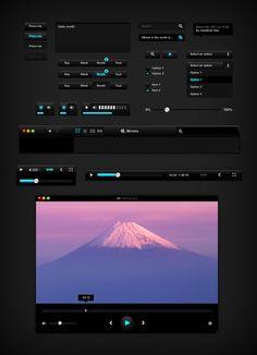 Free Black UI Kit UI Template - http://www.vectorarea.com/free-black-ui-kit-ui-template