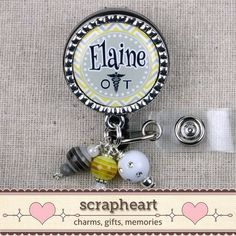 FREE Shipping on orders over $50!    OT Name Badge Personalized Yellow and Gray by ScrapheartGifts