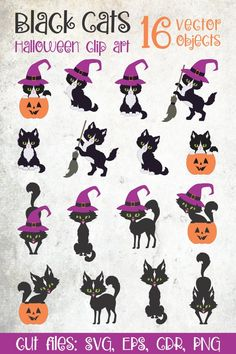 Halloween Illustration, Graphic Illustration, Illustrations, Halloween Clipart, Cute Halloween, Cat Vector, Craft Stickers, Clipart Design, Scene Creator
