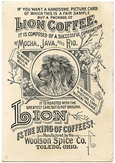 A vintage coffee ad. The old style way of printing, and line work, is beautiful and delicate, which is missed out on a lot in modern days.