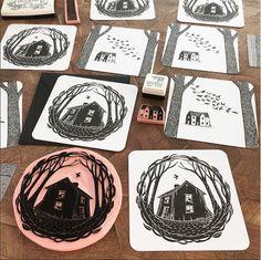 printed a few cards today. Linocut Prints, Art Prints, Lino Art, Linoleum Block Printing, Stamp Carving, Stencil, Handmade Stamps, Linoprint, Gravure