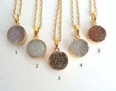 WT-N340Natural round petite druzy necklace small by WKTjewelry