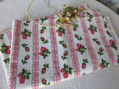 Vintage French Cotton Rosebud Fabric /Vintage Cloth / Curtain Cushion Cover Sewing Project  / Vintage Fabrics / Country Cottage Chic by SweetVintageDream on Etsy