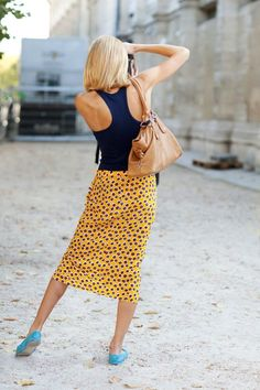 Midi skirt with racer-back tank. Yellow + navy