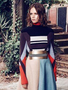 Peter Pilotto sweater / Roksanda Ilincic skirt and belt.
