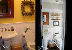 the powder room Mobile Home Kitchens, Mobile Home Living, Remodeling Mobile Homes, Home Remodeling, Small Narrow Bathroom, Mobile Home Repair, Home Fix, Powder Room, Diy Home Decor