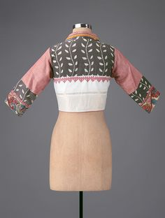 e3bee6ae72b16d Buy Grey-Pink Embroidered Hand-painted Kalamkari Cotton Blouse Online at  Jaypore.com