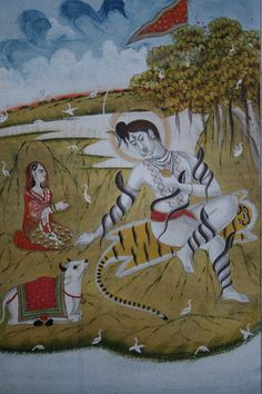 Indian Miniature Paintings - Jaipur. Shiva with Parvati and Nandi. Circa 1800
