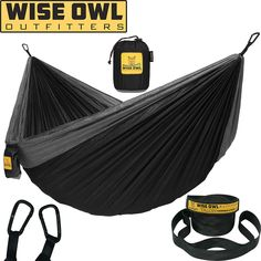 Wise Owl Outfitters Hammock Camping Double & Single with Tree Straps - USA Based Hammocks Brand Gear, Indoor Outdoor Backpacking Survival & Travel, Portable - Webstorewiki Best Camping Hammock, Portable Hammock, Camping Cot, Camping Gear, Backpacking, Hammock Straps, Winter Porch, Double Hammock, Wise Owl