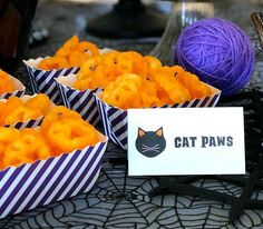 Black Cat Halloween Party Reveal Having fun themed food is a must for any party. Limited addition paw Cheetos were a total score. Black Cat Halloween Party Reveal on Halfpint Design - Halloween party ideas, kitty cat party, kids party, cat party treats Party Animals, Animal Party, Chat Halloween, Fete Halloween, Cat Themed Parties, Birthday Party Themes, 2nd Birthday, Kitty Party, Victorian Halloween