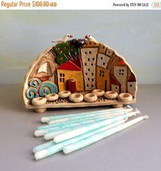 Ceramic Mezuzah case - Ceramic Menorah tiny houses Hanukkah menorah Hanukkah by ednapio - Ceramics Projects, Clay Projects, Clay Crafts, Clay Houses, Ceramic Houses, Houses Houses, Pottery Houses, Hanukkah Menorah, Hannukah