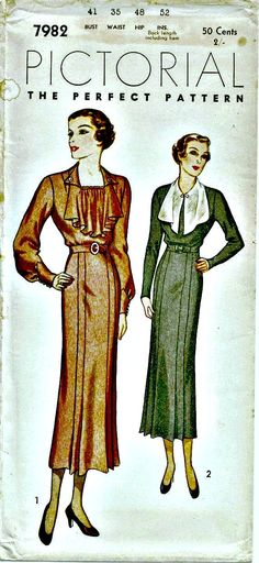 01ecef3be8df 1920s Day Dress Pattern Pictorial Review 7982 Downton Abbey Era Vintage  Sewing Pattern Circa 1923 UNCUT Bust 41