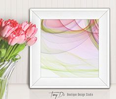 Square White Frame Mock-up Pink Tulips 2 by TanyDiDesignStudio