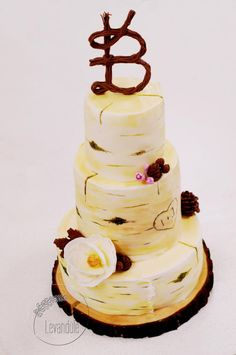 Birch wedding cake by Levandule cakes - http://cakesdecor.com/cakes/295381-birch-wedding-cake
