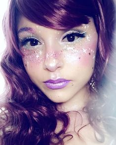 In the queue for the kyary concert now! Makeup inspired by @HeirOfGlee ✨✨ #uchuukei #spacegirl vibes!
