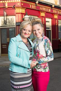 Kellie Bright on the right playing Linda Carter in Eastenders