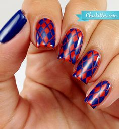 Orange and Blue Argyle Nail Art