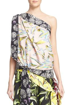 Emilio Pucci Conchiligie Print One-Shoulder Silk Blouse