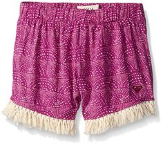 Roxy Big Girl Reef Short, Purple Wine, 14. All over printed soft short. Pom pom detail. Elastic waistband.