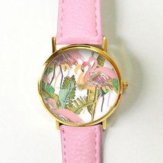 Rosa Flamingo tropischen Uhr Vintage-Stil Leder ansehen, Frauen Uhren, Unisex: Watch, Freund Watch Herrenuhr, Palmblätter, grün