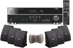 Yamaha 3D-Ready 5.1-Channel 500 Watts Digital Home Theater Audio/Video Receiver + Yamaha Universal iPod Dock + Set of 6 Yamaha All Weather Indoor / Outdoor 120 watt Wall Mountable Natural Sound 2-way Acoustic Suspension Speakers - Black + 100ft 16 AWG Speaker Wire by Yamaha. $599.95. Save 43% Off!