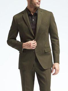 Standard Olive Cotton Linen Suit Jacket