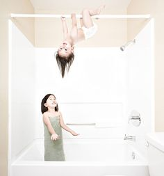 Wedding photographer Jason Lee couldn't take his daughters to see his mother when she was diagnosed with cancer, so he came up with the idea to take these creative photographs of his daughters to post on his blog.