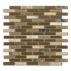 "Elements Coffee Blend 12"" x 12"" Glass Linear Mosaic Sheet"