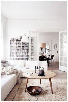 Scandinavian living room. I actually really like this shag rug