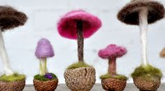 How to Make a Needle-Felted Mushroom: Made one of these things, it's red with white dots. And it's adorable!