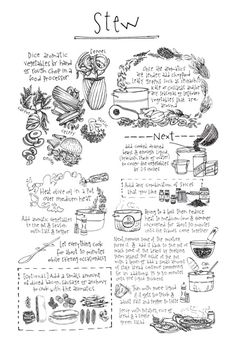 Stew - illustrated by Lucy Engelman Fixate Cookbook, Making A Cookbook, Cookbook Recipes, Cookbook Ideas, Recipe Book Design, Recipe Drawing, Cuadros Diy, Food Sketch, Cookery Books