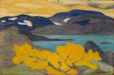 Helmer Osslund (Swedish, Utsikt från Torneträsk, Gouache on paper, 44 x 66 cm. Nordic Art, Paintings I Love, Oil Paintings, School Art Projects, Klimt, Landscape Paintings, Landscapes, Art Oil, Gouache